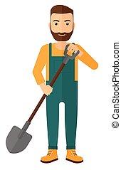 Farmer with spade - A farmer digging with a spade vector...