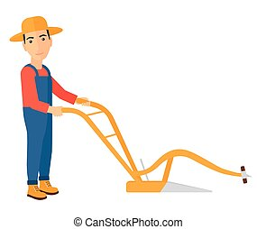 Farmer with plough - A farmer using a plough vector flat...
