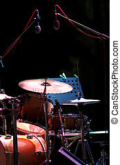 drum kit on eve concert - drum kit on the stage, concert of...
