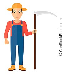 Farmer with scythe. - A farmer holding a scythe vector flat...