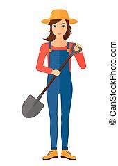 Farmer with spade - A farmer holding a spade vector flat...