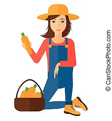 Farmer collecting carrots - A farmer collecting carrots in...