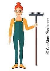 Farmer with rake - A farmer standing with a rake vector flat...