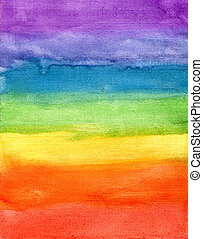 Abstract striped rainbow watercolor background - Abstract...