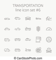 Transportation icon set Vector dark grey icon isolated on...