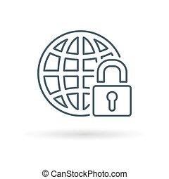 Secure globe icon white background