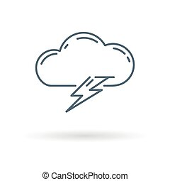 Lightning icon on white background - Cloud lightning bolt...