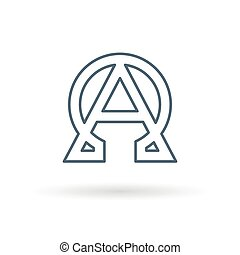Alpha Omega icon white background - Abstract alpha and omega...