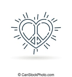 Peace heart icon white background