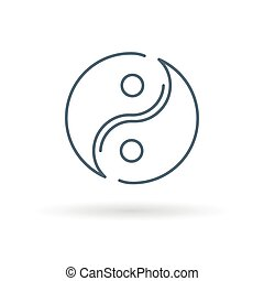 Yin Yang icon on white background - Asian Yin Yang icon...