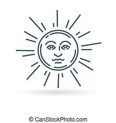 Sun face icon on white background - Sun face icon. Sun face...