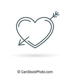 Arrow heart icon white background