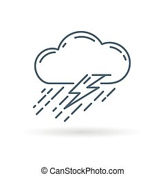 Thunderstorm icon white background - Cloud with rain and...