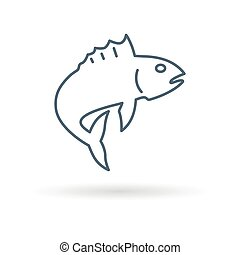Fish jump icon on white background - Fish icon Fish jump...