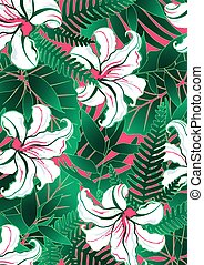 White tropical flowers with green leaves and red background