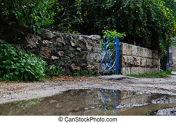 blue gate with its reflection in the street puddle