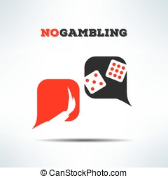 Vector no gambling dialog sign background. Gaming forbidden sign with dice
