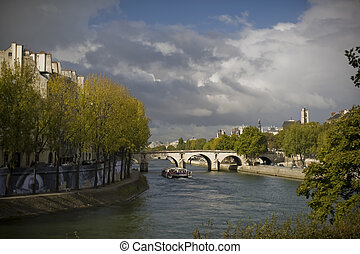 Seine River in Fall - Looking west down the Seine River; Ile...