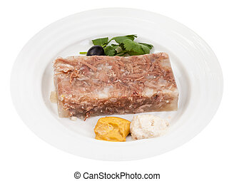 portion of meat aspic with seasonings on plate - portion of...
