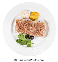 top view of portion of meat aspic on white plate isolated on...