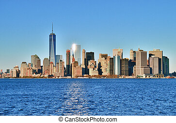 Manhattan on a sunny day. - View of the Manhattan Island on...