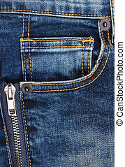 Jeans background with pocket and zip, closeup