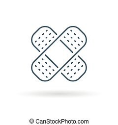 Bandaid icon on white background - Bandaid icon Bandage sign...