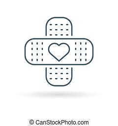 Bandaid heart icon white background - Band aid plaster icon...