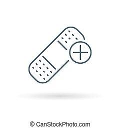 Bandaid icon on white background - Bandaid icon. Bandage...