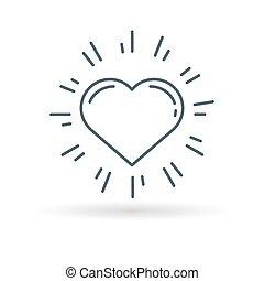 Glow heart icon on white background