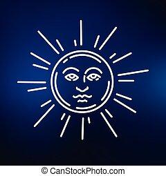 Sun face icon on blue background - Sun face icon. Sun face...