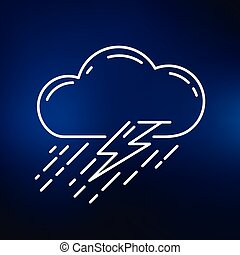 Rainstorm icon on blue background - Cloud with rain and...