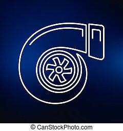 Turbo icon on blue background - Vehicle performance turbo...