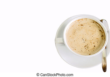 capuccino morning - isolated cup of fresh capuccino, on...