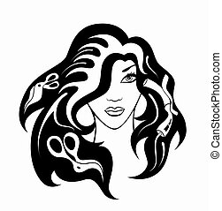 hairdressing accessories - illustration of girl with...