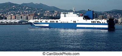 big roro vessel - detail of a big roro vessel entering in...