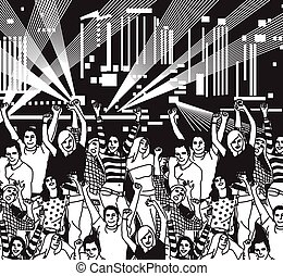 Disco open air crowd young people dance black and white....
