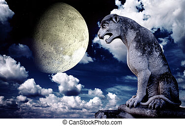 Ancient lion statue and bright moon in the night sky