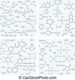 Set of seamless vector backgrounds with chemistry formulas and equations
