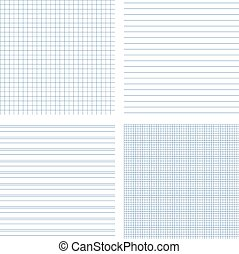 Set of 4 vector of seamless textures of notebook pages