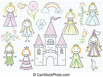 Set of vector sketches with happy little princesses