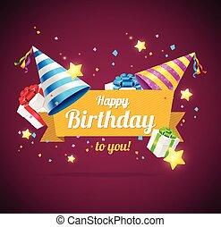 Birthday Card, Flyer or Placard. Vector - Birthday Card or...