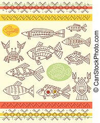 Set of vector ethnicity patterns with fish, crab and cancer...