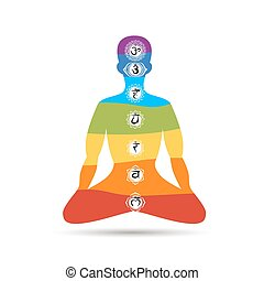 Yoga lotus pose with chakras for your design Vector...