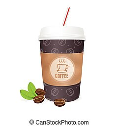Coffee Cup Vector - Coffee Cup with Grains and Straw The...