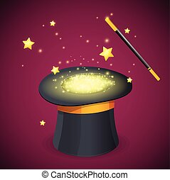 Magic Hat and Wand. Vector