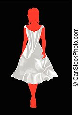 Bridesmaid Silk Dress - Girl silhouette walking out in a...