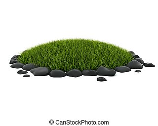 Green grass with stones isolated on white