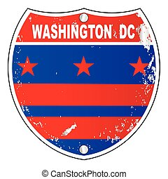 Washington DC Flag Icons As Interstate Sign - Washington DC...
