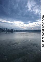 Danube - winter river scenery in Serbia